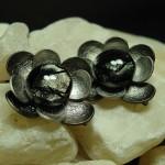 Pewter Petals earrings by Anne Thornton