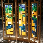 Northern Landscape stained glass screen by Anne Thornton